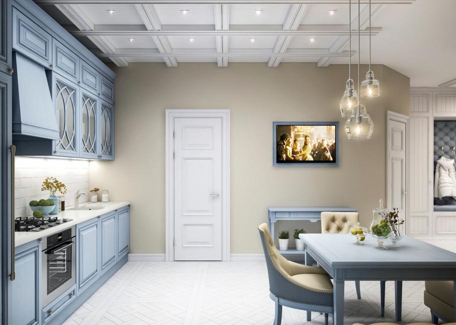 Красивая кухня в голубом цвете