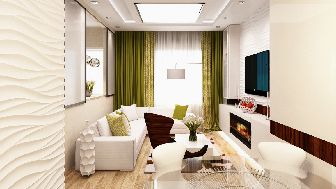 Дизайн небольшой гостиной в белом цвете