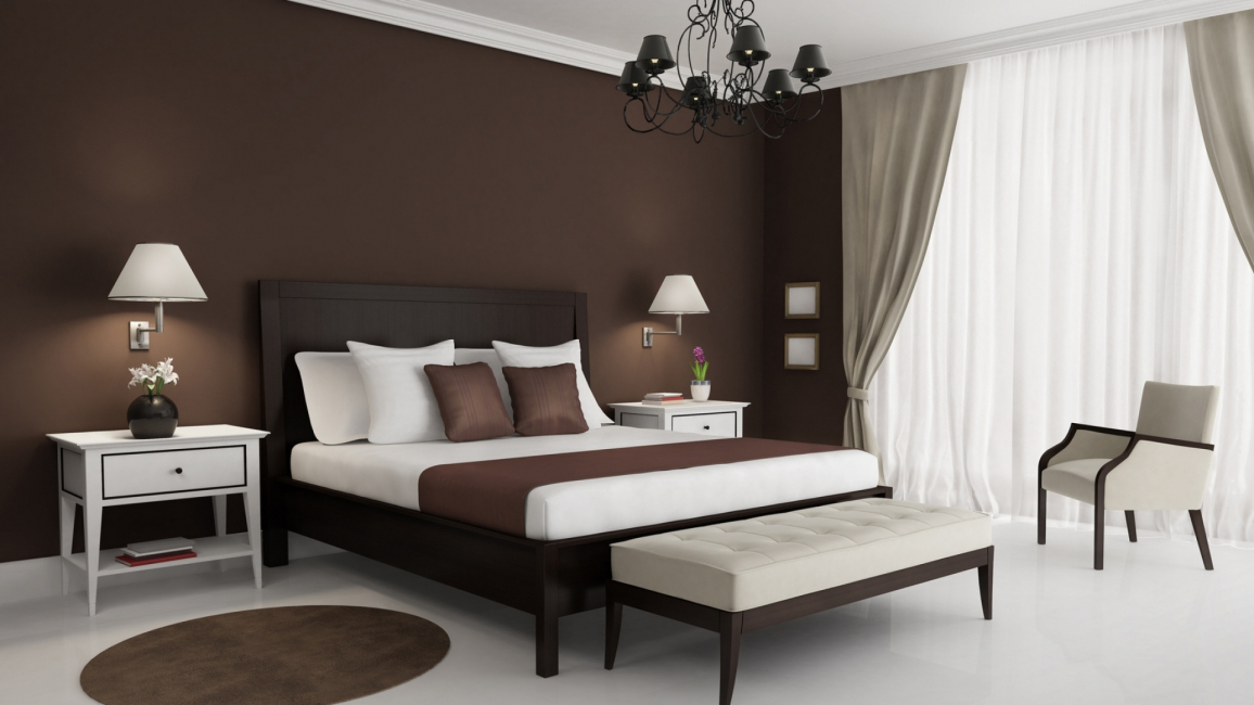 Спальня в бело-коричневом цвете