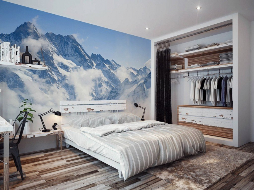 Имитация гор в спальне
