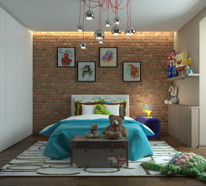 Комната в стиле лофт для мальчика