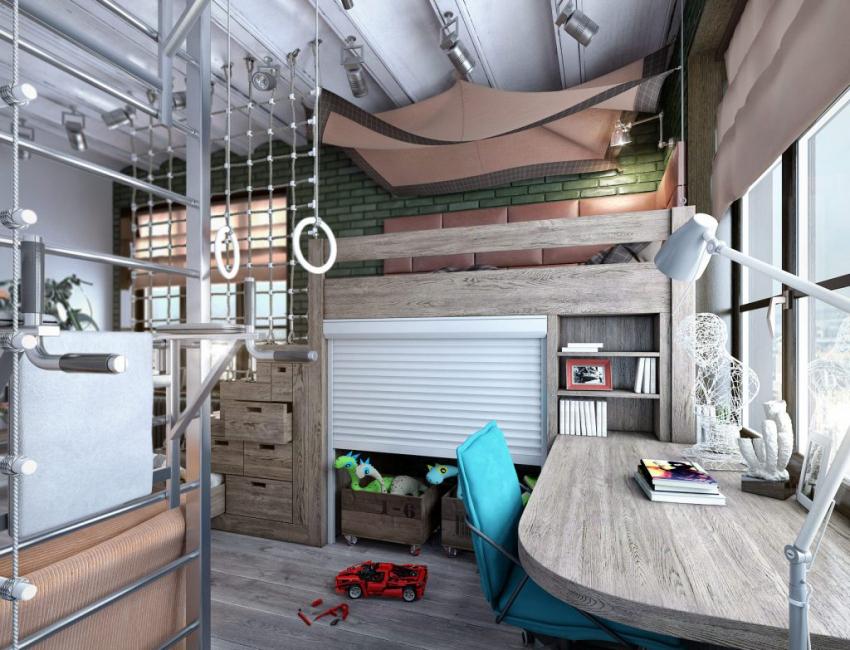 Дизайн комнаты в современном стиле лофит