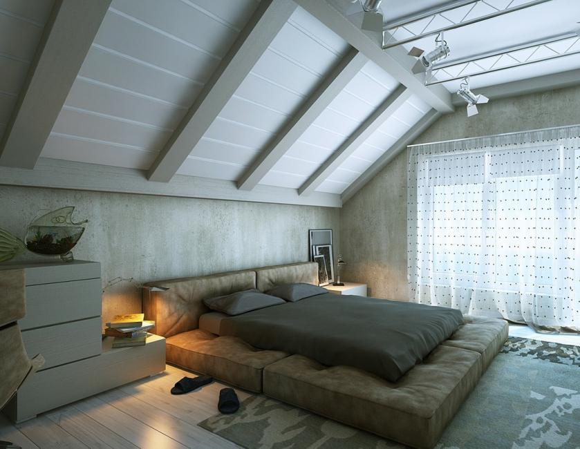 Спальня в мансарде дает ощущение уюта и защищенности