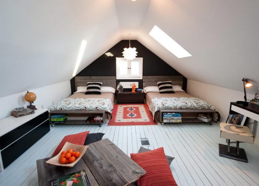 Использовать мансарду можно как комнату для гостей
