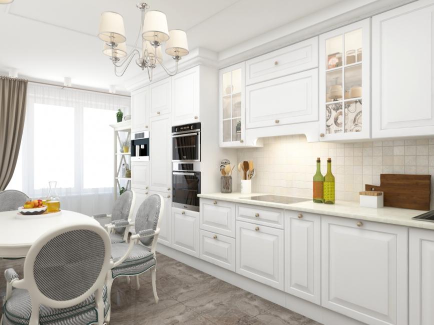 Прямая белая кухня в классическом стиле со встроенной техникой