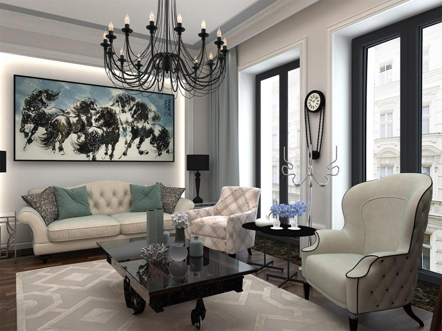 В просторной гостиной можно реализовать самые необычные идеи