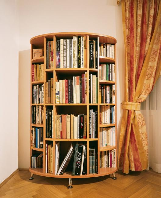 Стеллаж для книг рекомендуется размещать в гостиной, спальне или прихожей