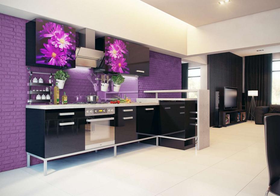 Гармоничное сочетание фиолетового с черным