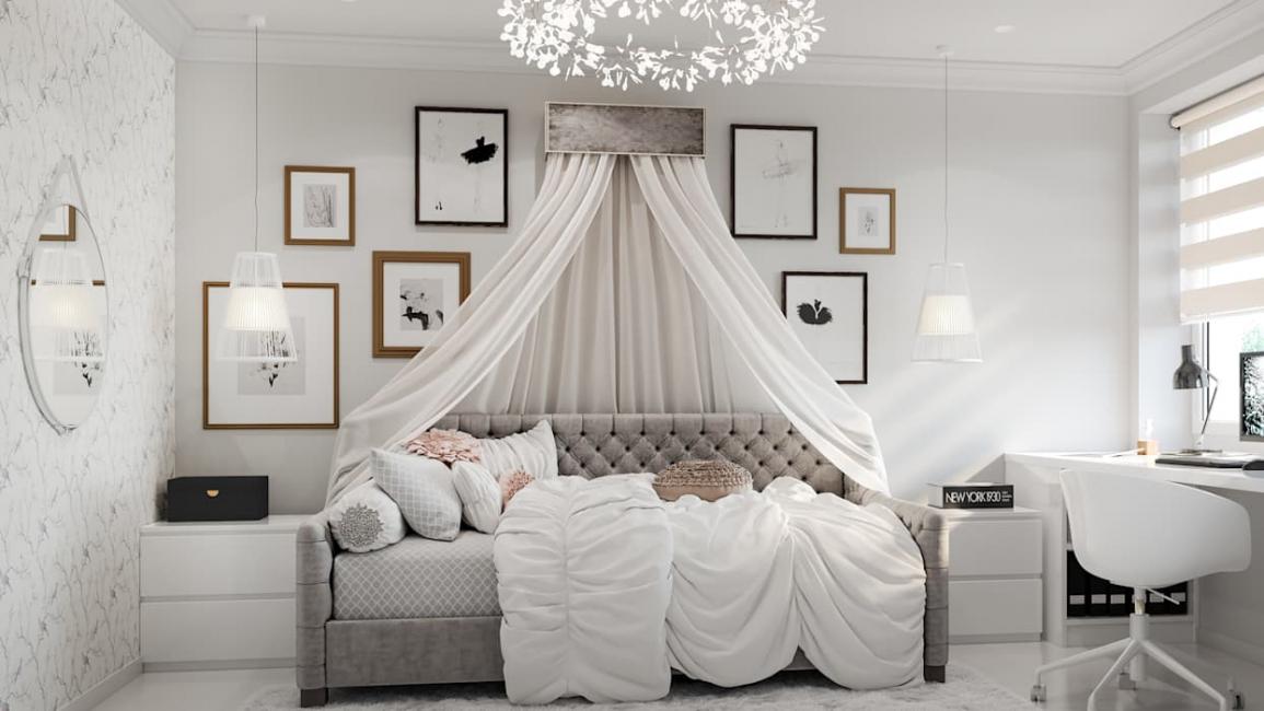 Красивый вариант кровати с балдахином для девочки