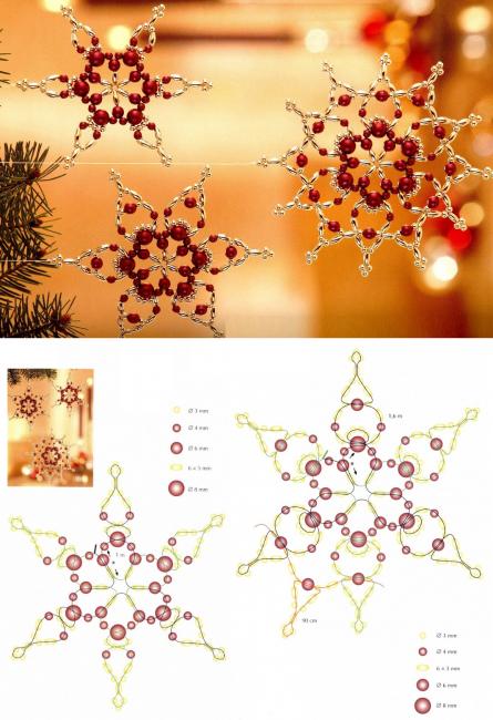 Схема изготовления второго варианта снежинки на новогоднюю елку