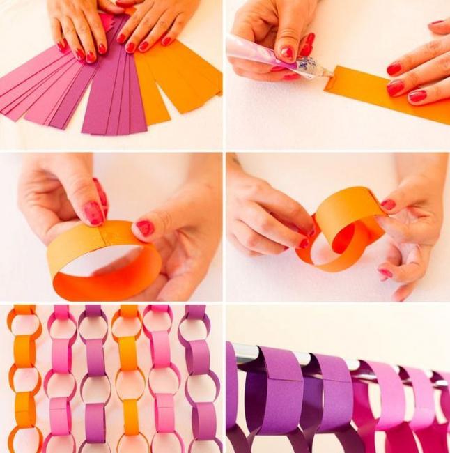 Из цветной бумаги делаем колечки и продеваем их друг у друга