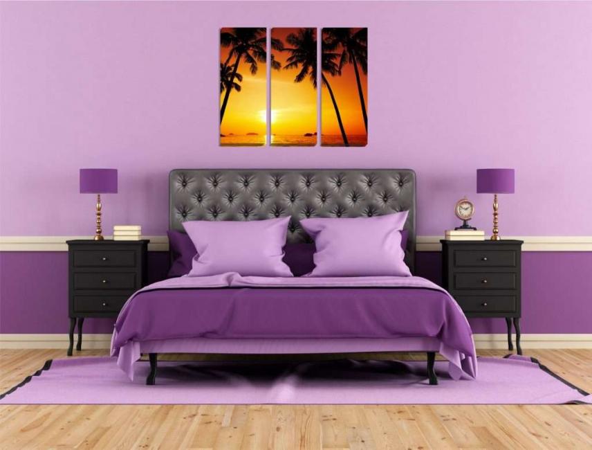 Модульная картина в фиолетовой спальне