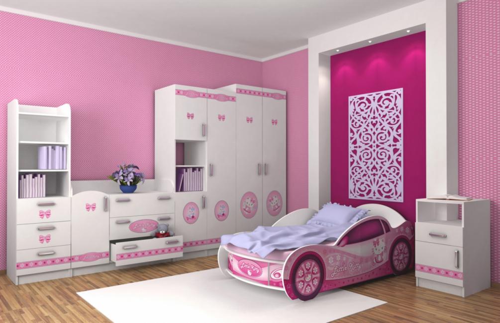 Кровать-машина Китти для девочки