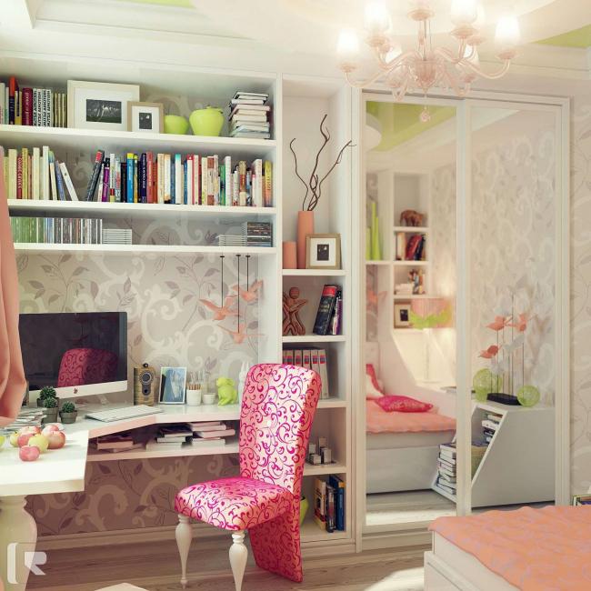 Строгого разделения на зоны в комнатах для девочек нет