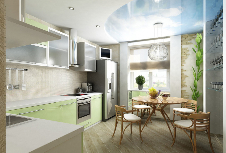 По правилам дизайнерского искусства следует оформлять кухню и балкон в одном стиле