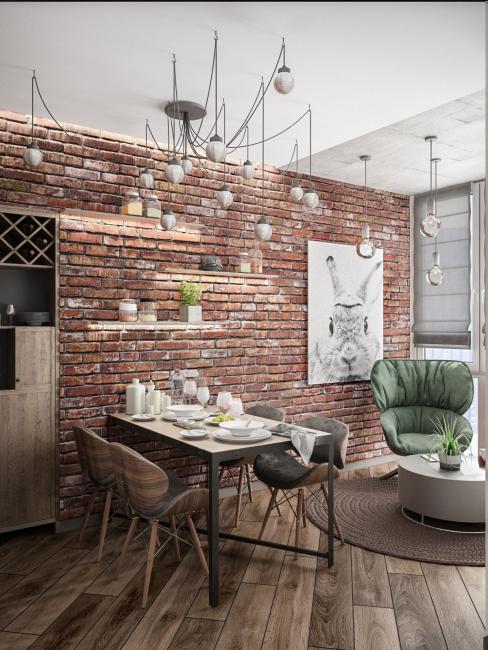 Комфортная обеденная зона в стиле минимализм уравновесила интерьер лофт