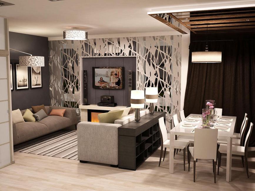 Вариант зонирования с помощью мебели