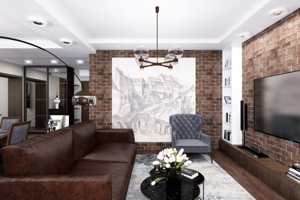 Темный цвет в гостиной в качестве основного лучше не использовать