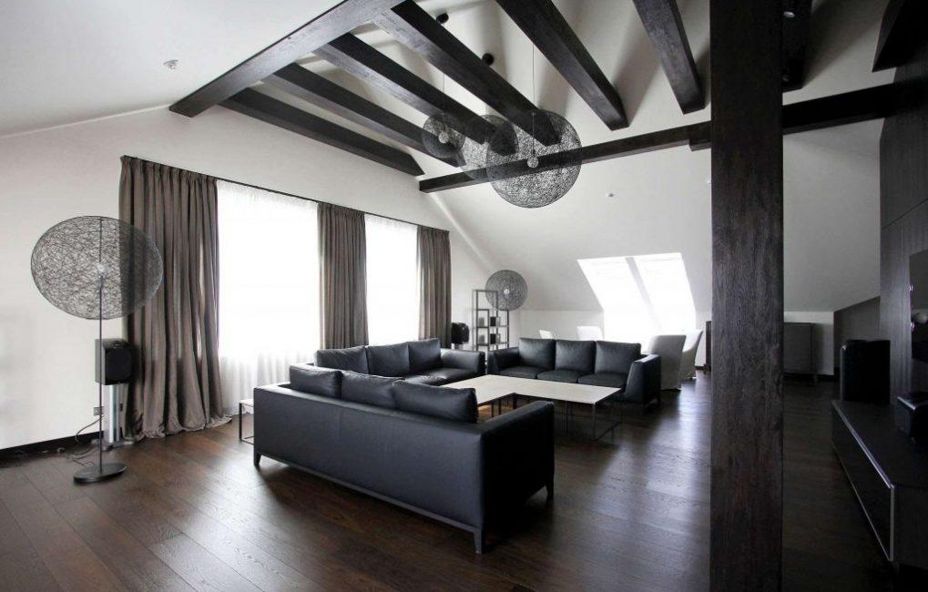 Мебель темных тонов способна подчеркнуть элегантность и шик просторных гостиных