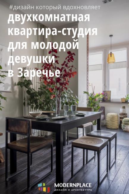 Двухкомнатная квартира-студия для молодой девушки в Заречье