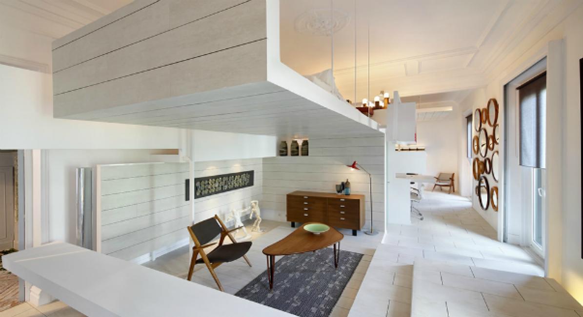 Белый цвет стен и плавные линии мебели