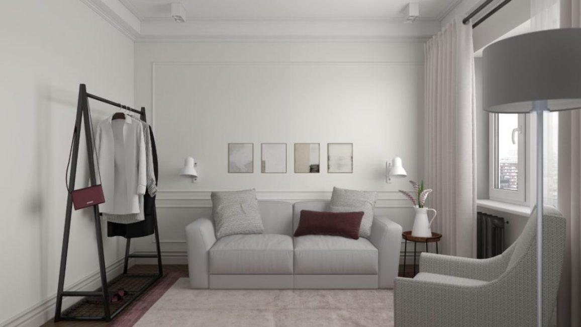 В гостиной преобладает стиль минимализм