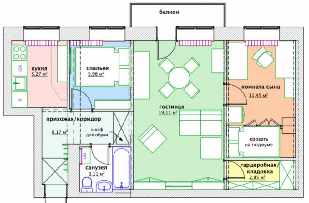 Общая планировка квартиры с мебелью