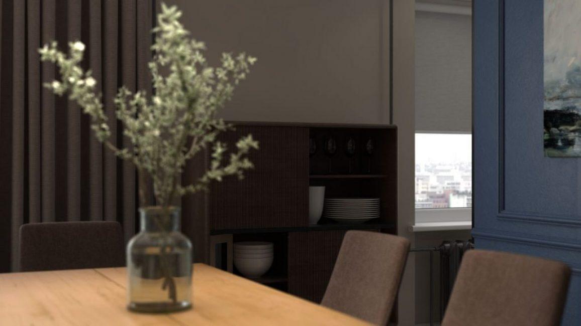 Удобный шкаф для хранения посуды в коричневом цвете. Идеальное сочетание с синим
