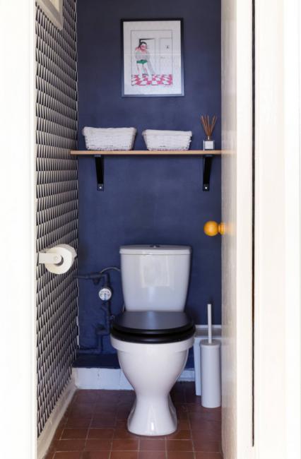 Для туалета выбрали глубокий синий цвет