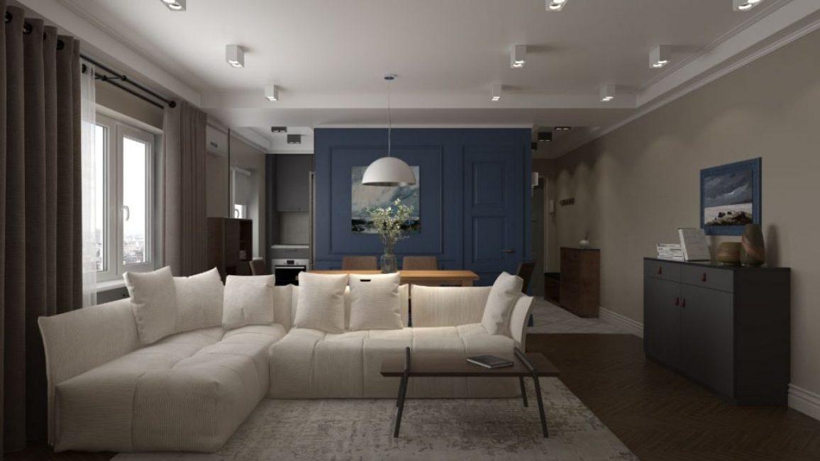 На огромном мягком диване хватит места для всей семьи