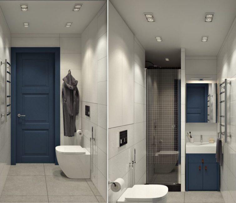Простая и современная ванная комната с небольшой душевой кабиной