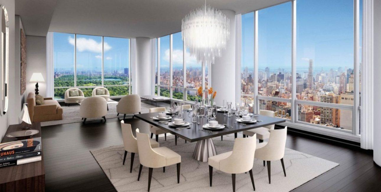 Огромная гостиная для светских приемов и развлечений с видом на Центральный парк