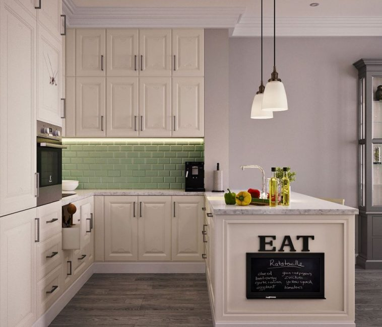 Кухонный уголок со стойкой, на которой очень удобно готовить