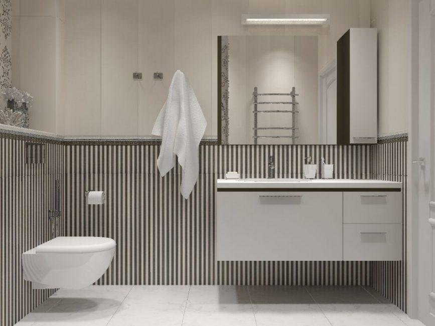 Вторая ванная комната в ахроматичных цветах