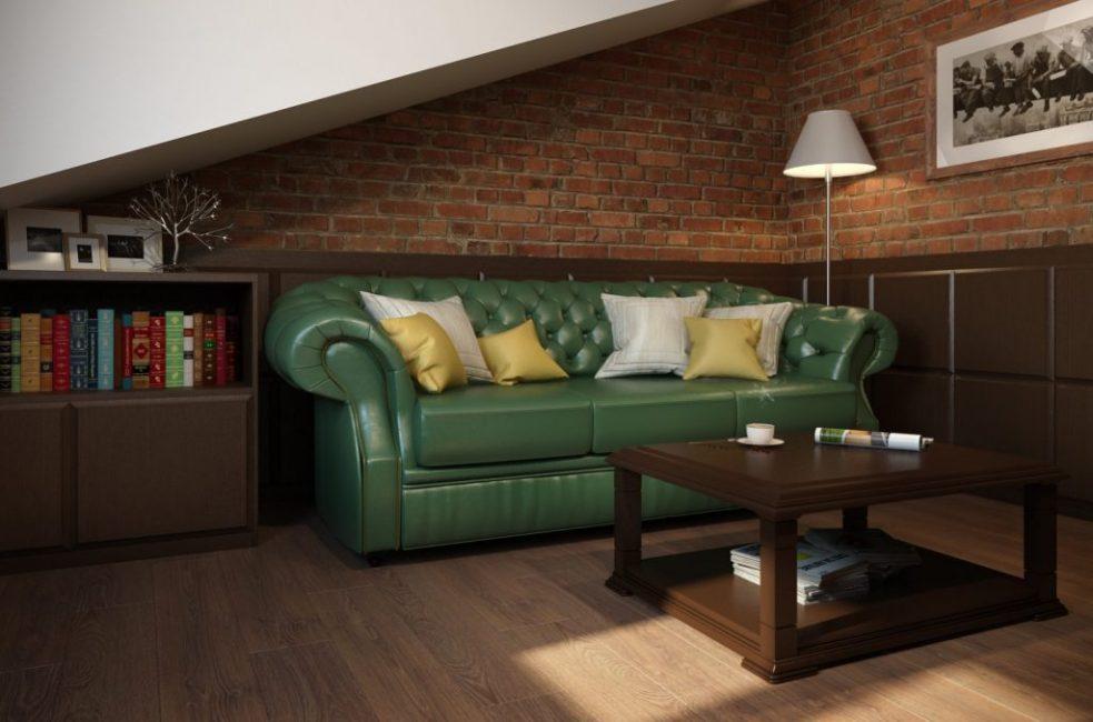 Удобный кожаный диван глубокого травяного цвета