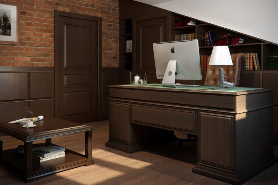 Выполнен кабинет в классическом стиле