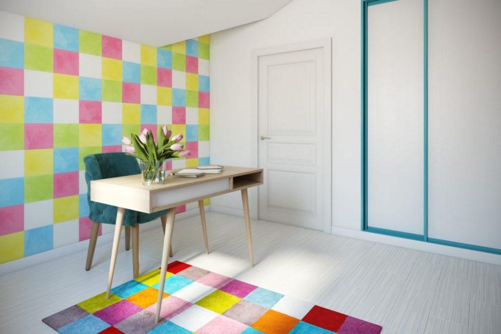 А это веселая и оригинальная комната для творчества