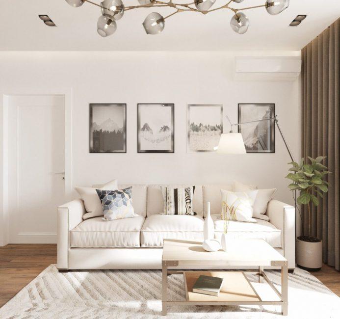 Удобный диван, кофейный столик, ковер — все очень гармонично