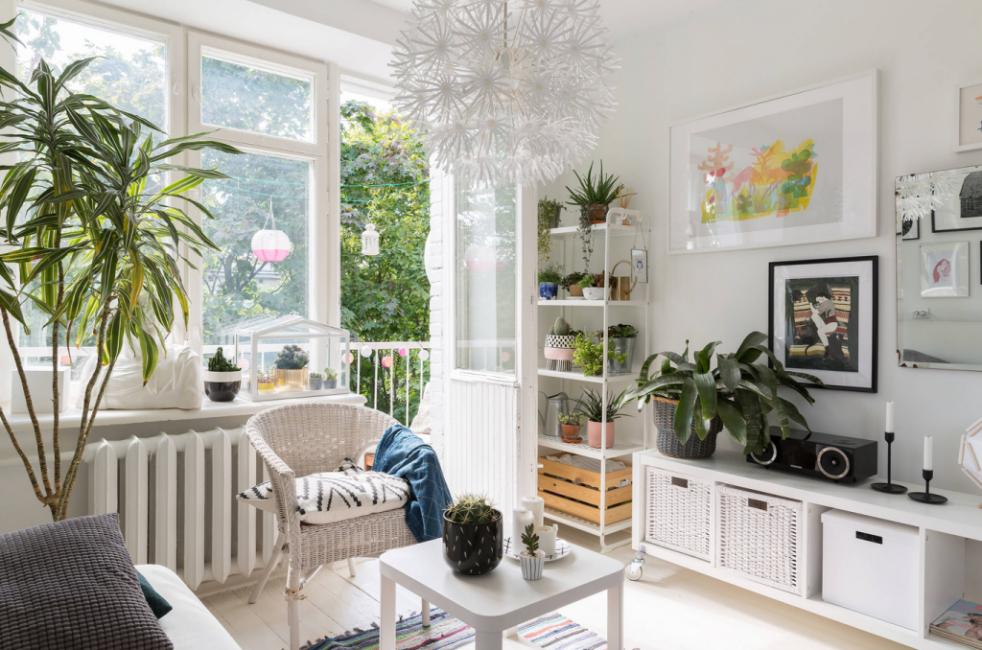 Много цветов и светлая мебель — признаки экологичного интерьера