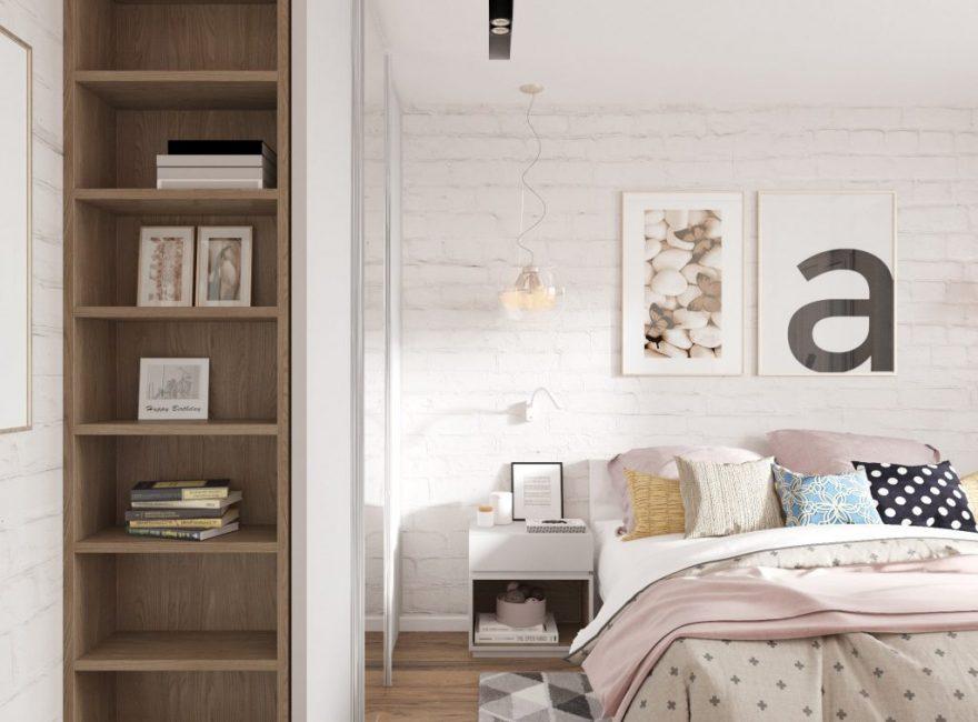 В спальне предусмотрены книжные полки