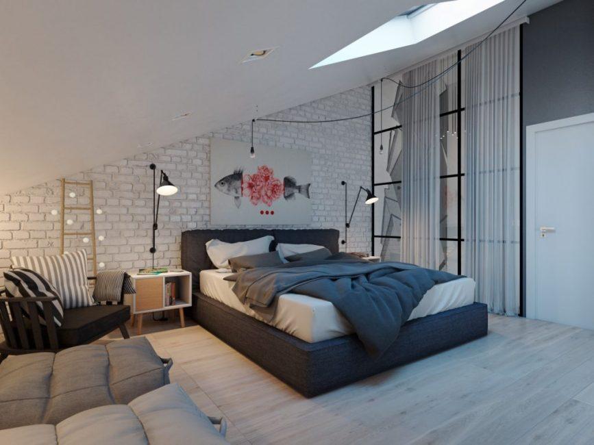 Для спальни использовались элементы стиля лофт
