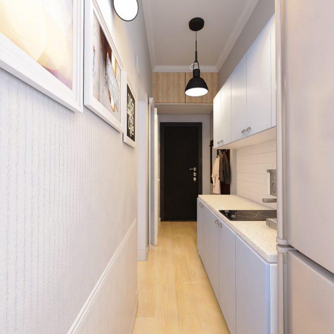 Всего прихожая-кухня занимает 5.5 кв.м