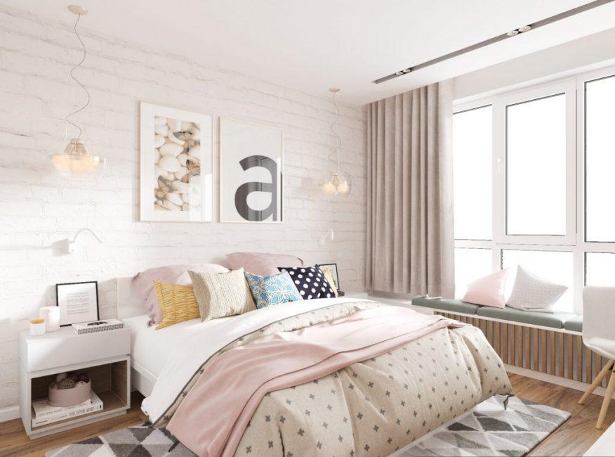 Спальня в кремовых и пастельных тонах