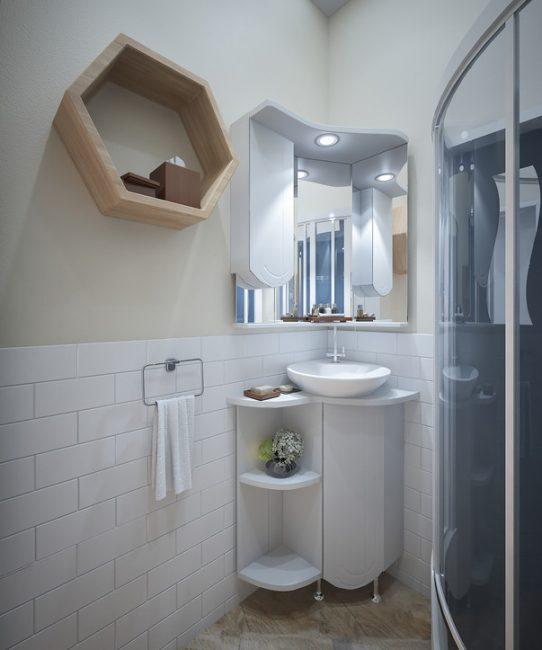 Ванная комната не перегружена яркими или темными оттенками и обилием декора