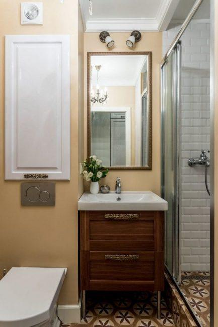Ванная комната сделана в таким же стиле, что и вся квартира