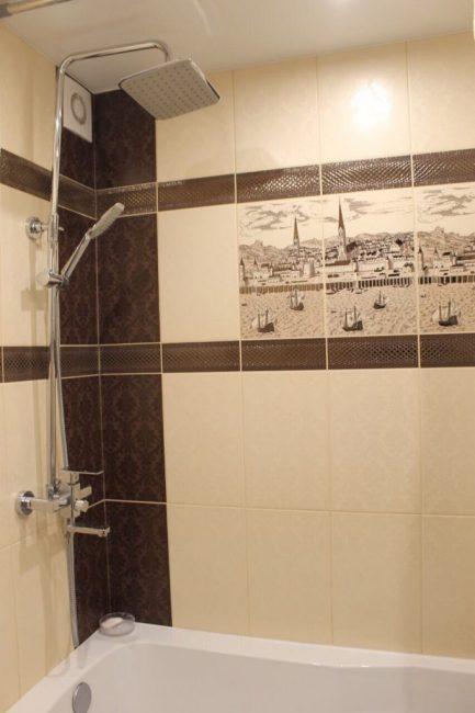 Ванная выполнена в том же цвете, что и туалет