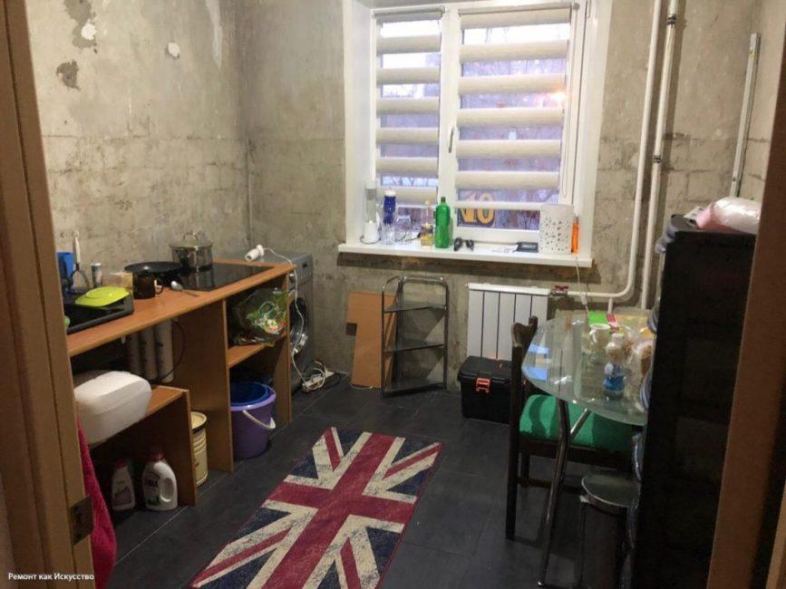 До ремонта кухня выглядела как нежилое здание без отделочных работ