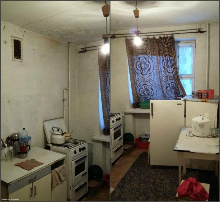 Вот так до преображения выглядела кухня. Как видите, состояние близкое к критическому.