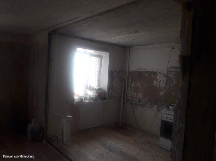 Вот так квартира выглядела после перепланировки и черновых работ