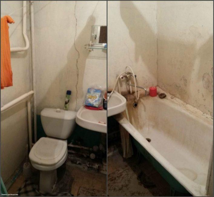 До ремонта в санузле очень плохо пахло. Вся сантехника и трубы проржавели. По стенам шли трещины.